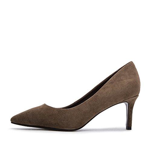PUMPS Ladys Glossy Heels,Flach-Mund Spitzen Leder Schuhe,Ziege Wildleder Schuhe-C Fußlänge=23.8CM(9.4Inch)