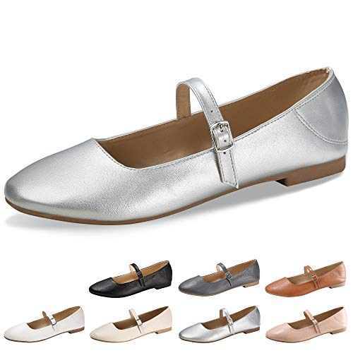 CINAK Flats Mary Jane Shoes Women's Casual Comfortable Walking Buckle Ankle Strap Fashion Slip On(6-6.5 B(M) US/ CN38 / 9.4'', Silver)