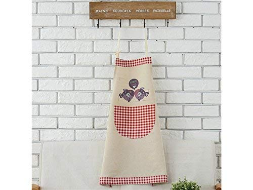 (JingBeiD Home Printed Apron with Pocket Personalized Red Lattice Cartoon Fish)