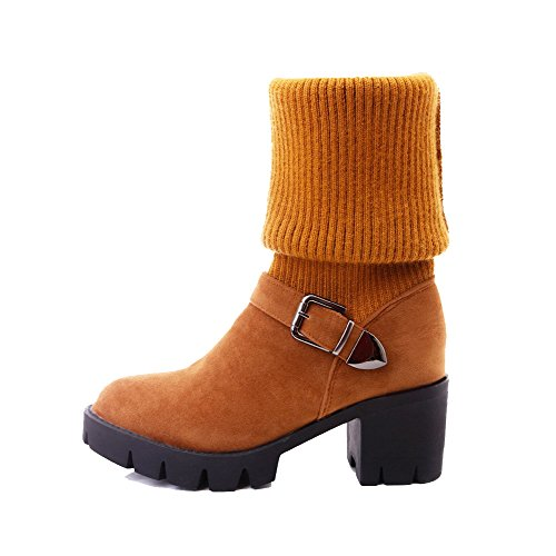 Allhqfashion Women's Solid Kitten-Heels Round Closed Toe Imitated Suede Pull-on Boots Brown vJvWajyj