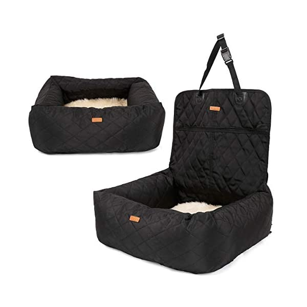 MONIKI 2in1 Dog Car Seat Bed - Waterproof & Nonslip Cat Traveling Front Booster Seats, Removable cover & Cushion 2