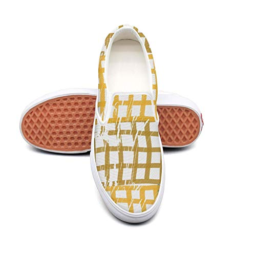 HAHIKOLKOQ Checkered Yellow and Blue Women's Fashion Casual Shoes ()