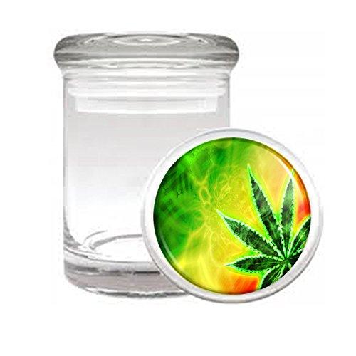 Medical Glass Stash Jar Rasta S9 Air Tight Lid 3'' x 2'' Small Storage Herb & Spices Reggae Lion Jamaican Colors 420 Leaf