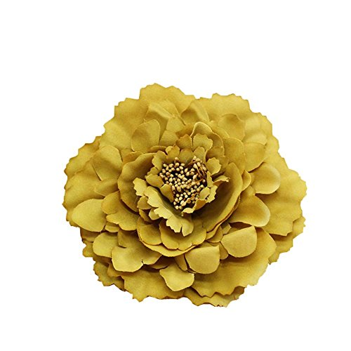 Kewl Fashion Women's Bohemia Peony Flowers Hairpin Hair Clip Flower Brooch (Gold Yellow (Yellow Gold Brooch)
