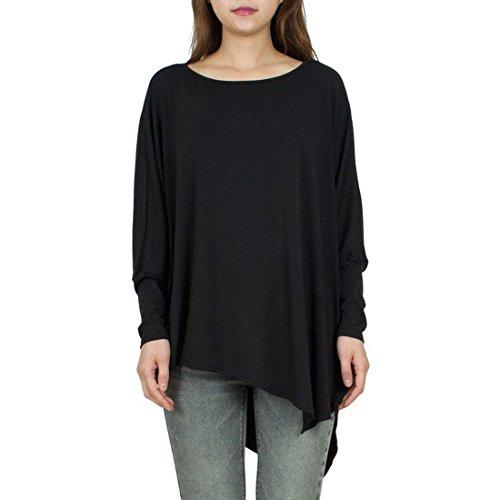 M-Queen Mujeres Camisetas de Manga de Asimetría T shirt Cuello Redondo Camisas Tops color 1