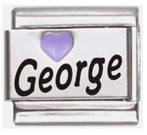 George Purple Heart Laser Name Italian Charm Link