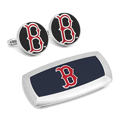 Cufflinks Inc Metal Mens Jewelry Sets Boston Red Sox Cufflinks And Cushion Money Clip Gift Set Silver Model # PD-SOX-CM2 (Boston Sox Red Cufflinks Silver)