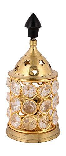 Handmade Indian Puja Brass Crystal Diamond Cut Diya Oil Lamp-Decorative Brass Diamond Crystal Diya for Beautiful Gift Diwali Dipavali Celebration Home Decor - Divine Valance