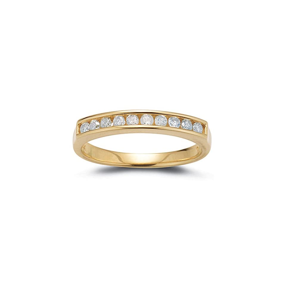 14k Yellow Gold Diamond Channel Set Ring (1/4 cttw, I J Color, I2 I3 Clarity), Size 7