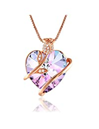 Angelady Rose Heart Pendant Necklace for Women Crystals from Swarovski, Anniversary Gift for Her