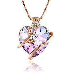 Angelady ♥Amour de l'éternité Collier Coeur Bleu Améthyste pour Femme Collier Fleur Rose avec Cristaux Swarovski…