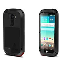 Love MEI LG G4 Case;Shockproof Waterproof Dust/Dirt/Snow Proof Aluminum Metal Gorilla Glass Heavy Duty Protection Case Cover;4-layer Protection Cover Case for LG G4 ;5 Colors Corning Gorilla Glass Aluminum Metal Protective Case for LG G4 (Black)