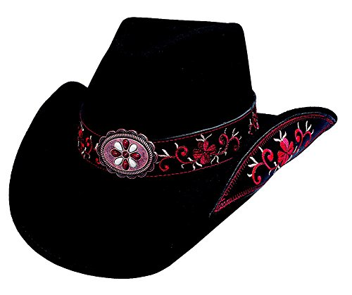 Montecarlo / Bullhide Hats - ALL for GOOD - Wool Felt Western Cowboy Hat (Small, Black/Red)