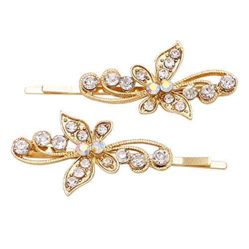 Butterfly Gold Pins - Rosemarie Collections Women's Hair Accessories Crystal Butterfly Bobby Pins (Swirl Gold)