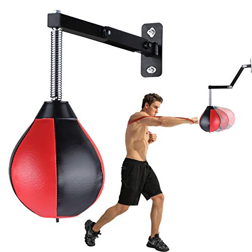 Speed Bag Boxing Punching Bag Wall-Mounted Height Adjustable Strong Durable Boxing Ball Speed Punching Bag with Stand…