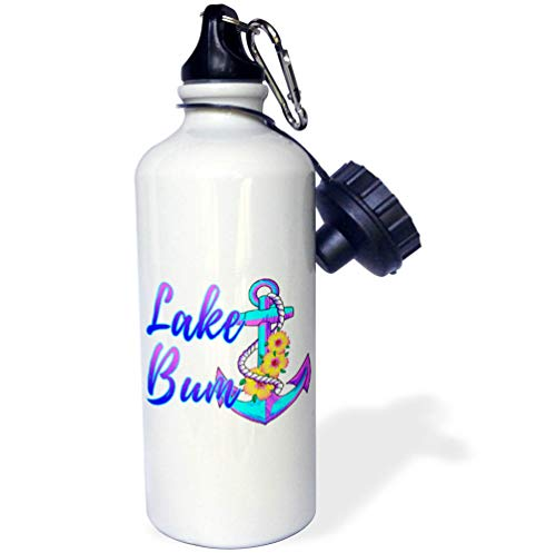 3dRose Macdonald Creative Studios – Nautical - A Nautical Lake Bum with Vintage Ship Anchor in Bright Coastal Colors. - 21 oz Sports Water Bottle (wb_291884_1) by 3dRose