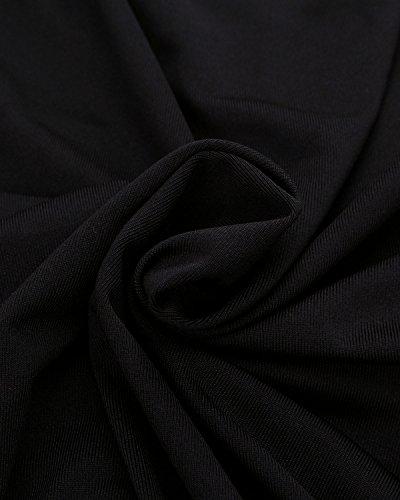ZANZEA Mujer Camiseta Blusa Mangas Cortas Casual Elegante Oficina Cuello Pico Negro