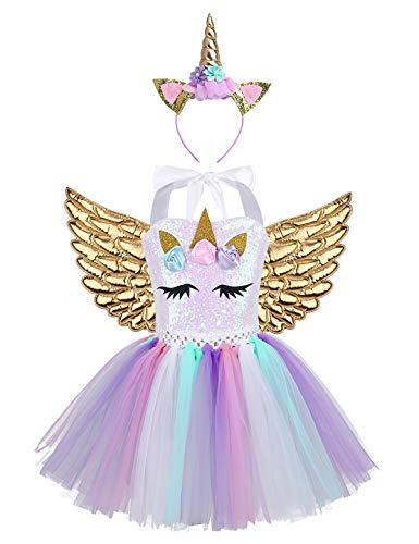 TiaoBug Disfraz de Unicornio con Diadema Alas Niñas Tutú Vestido Princesa Lentejuelas de Fiesta Ceremonia Vestido Unicornio Niña para Halloween ...