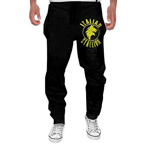Men's Rocky Movie Italian Stallion Logo Elastic Athletic Lounge Pants Black - Stallion Logo