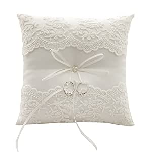Amazon Com Awtlife Lace Pearl Wedding Ring Pillow Ivory Cushion