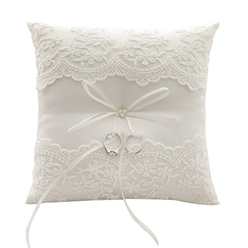 Awtlife Lace Pearl Wedding Ring Pillow Ivory Cushion Bearer 8.26 Inch For Beach ()