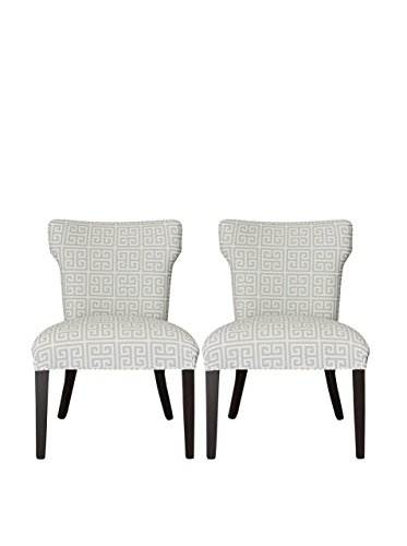 SOLE Designs Melrose Collection Contemporary Fabric Upholstered Dining Room Wingback Chairs, Set of 2 Light Blue