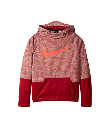 NIKE Boy's Therma Heathered Graphic Hoodie (Red, Medium)