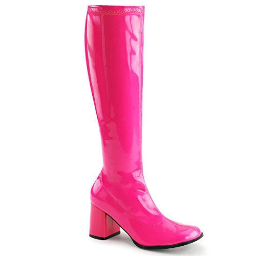 Funtasma GOGO-300UV womens Neon Hot Pink Stretch Patent Boots Size - 5 - Hot Pink Patent Footwear