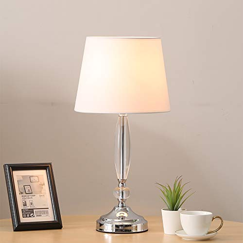 COTULIN Modern Elegant Living Room Bedroom Crystal Table Lamp,Desk Lamp with White TC Fabric Shade and Chrome ()