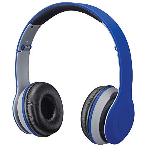 iLive Bluetooth Head Phones, with On-Ear Controls, Matte Blue (IAHB38BU)