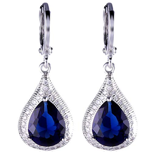 GULICX Blue Jewelry Cubic Zirconia Teardrop Party Dangle Earrings Sapphire Color White Gold Electroplated ()