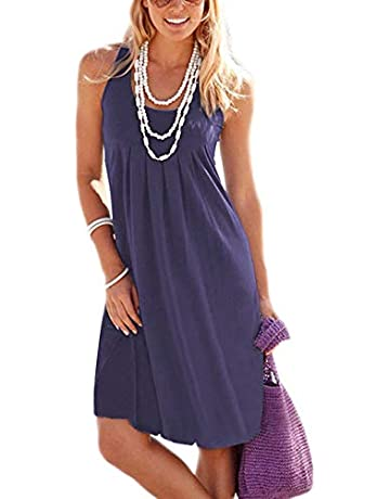 3320dad18ee Jouica Women's Casual Summer Tank Sleeveless Knee Length Pleated Sun Dresses  with Pockets