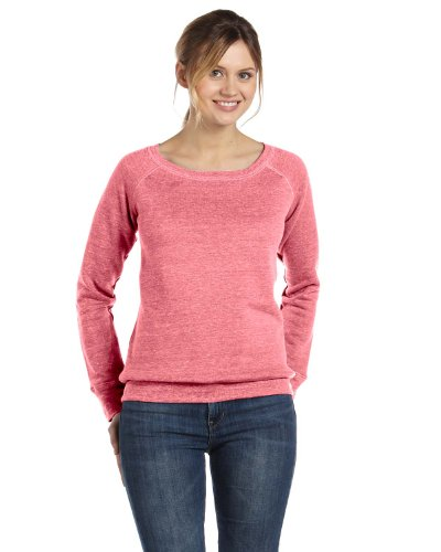 Bella Canvas Ladies' Sponge Fleece Wide Neck Sweatshirt - RED MARBLE FLC - S