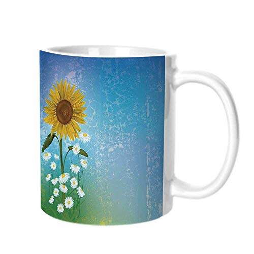 Sunflower Decor Fashion Coffee Cup,Grunge Floral Illustration with Sunflower and Chaomiles Pastel Summertime Art For office,One size (Fashion Pastel Summertime)