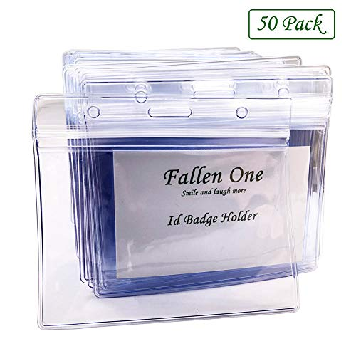 Fallen One 50 Pack Waterproof Horizontal Plastic Id Card Name Tag Badge Holder,Clear PVC with Resealable Zip Single Layer Thickness 0.4mm Thicker 60% Than Standard 0.25mm