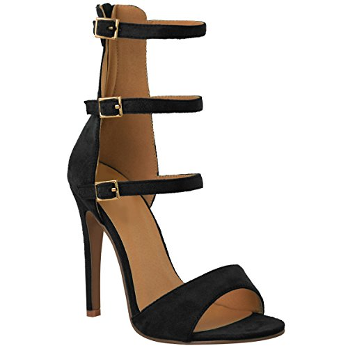 Fashion Thirsty Womens High Heel Strappy Sandals Open Toe Party Prom Shoes Size 8