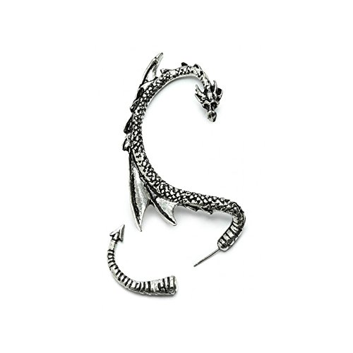 Silver Phantom Jewelry Women's Silvertone Dragon Ear Cuff Wrap Earring Gothic Jewelry (Right Ear)