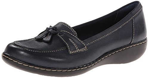 CLARKS Women's Ashland Bubble Slip-On Loafer, Navy, 8 M US