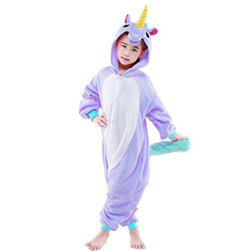 Sunrise Childrens Pajamas Sleeping Wear Anime Cosplay Onesie Homewear (95#, NEW PURPLE UNICORN)