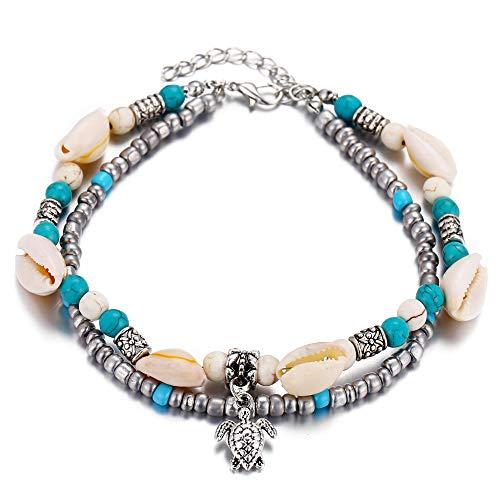 - FineMe Starfish Turtle Anklets Bracelet Layered Boho Gold Chain Silver Heart Beach Foot Jewelry Women Girls (B1: Turtle & Shell)