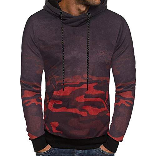 kaifongfu Camouflage Hoodie,Men Long Sleeve Sweater Tops Outwear Blouse for Men (Red,L)