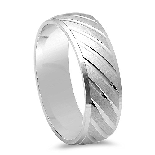 Men's Fancy Designer Diamond Cut Wedding Band .925 Sterling Silver Ring - Size 12