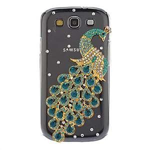 CECT STOCK Caso duro del patrón del pavo real verde con el Rhinestone para Samsung Galaxy S3 I9300