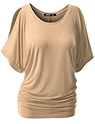 TWINTH Womens Cut Out Off Shoulder Short Sleeve Dolman Drape Loose Fit Tunic Top Plus Size