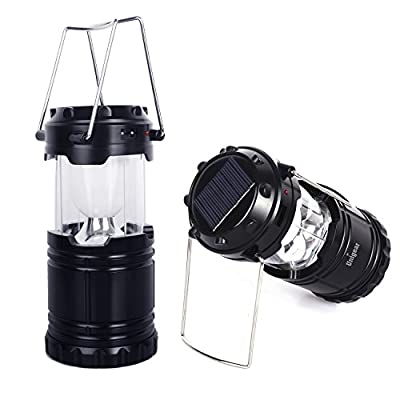 Unigear Solar Rechargeable Camping Lantern, Portable LED Camp Light Flashlight Lamp Battery Powered for Sports, Camping, Hiking, Fishing, Backpacking, Emergencyc Charging for Iphone and Android Cellphone