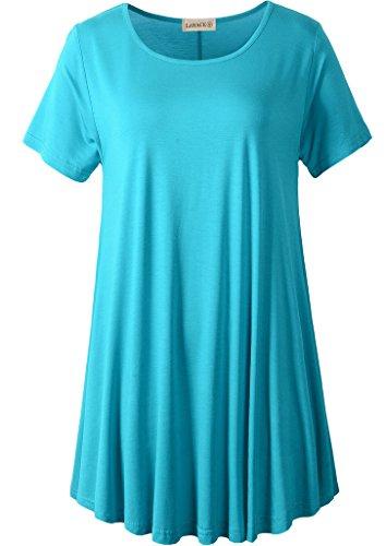 (LARACE Women Short Sleeves Flare Tunic Tops for Leggings Flowy Shirt (3X, Lake Blue))