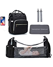 Diaper Bag Backpack with changing station, stroller strap, and USB port