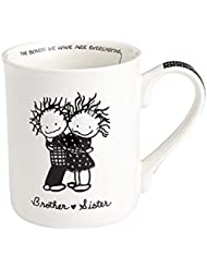 Enesco 4058324 Children of the Inner Light Brother and Sister Stoneware Coffee Mug, 16 oz, White