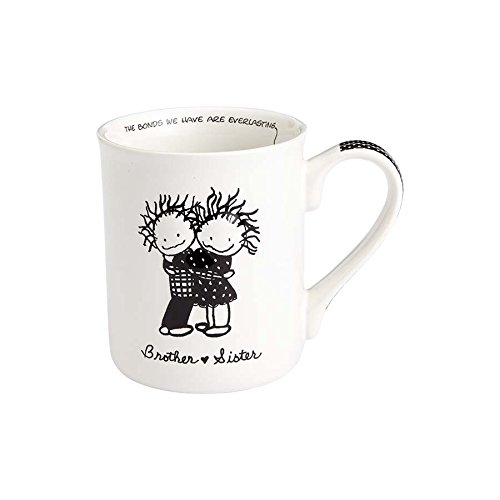 Enesco 4058324 Children of the Inner Light Brother and Sister Stoneware Coffee Mug, 16 oz, White (Mug Enesco)