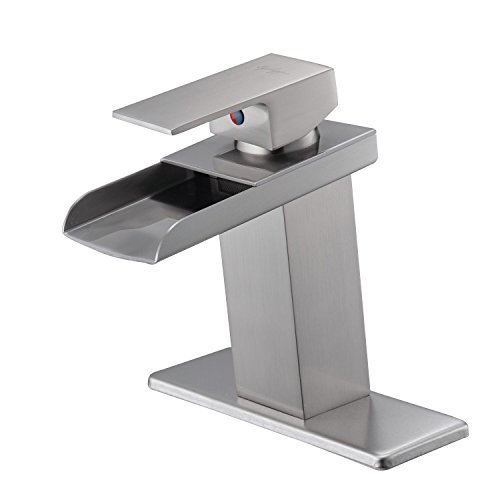 Eyekepper Nickel Brushed Waterfall Bathroom Sink Vessel faucet Lavatory Mixer Tap Open Channel Water Spout